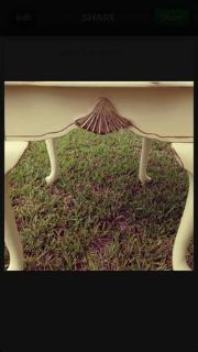 Refurbished Cream  Gold Distressed Side Table