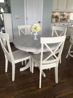 Four white x back chairs ONLY - no table