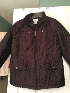 White stag brown quilted woman's coat. EUC. Sz 1X (16-1