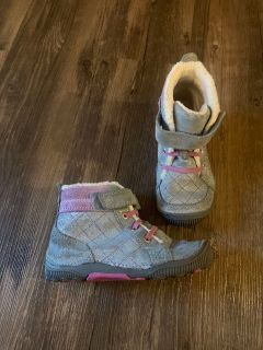 Stride rite silver glitter 10 girls high top boots shoes