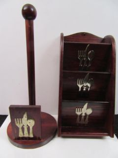 sold as set Cherry paper towel and recipe holder w/metal silverware on front