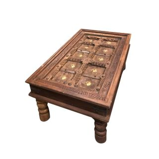 1920s Art Nouveau Jharokha Solid Wood Coffee Table