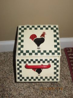 Vintage Stenciled Chicken Hanging Kitchen Box with Drawer and Top-Hinged Section