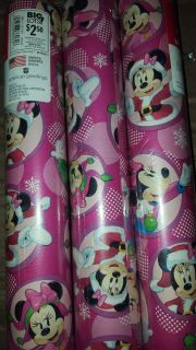 BNIP Disney Minnie Mouse Christmas Wrapping Paper 40sq ft