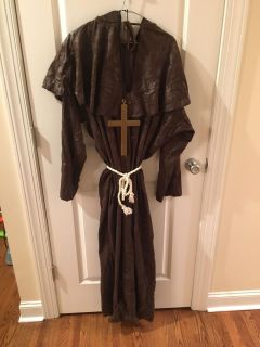 Large Brown Monk costume with cross, hood and belt