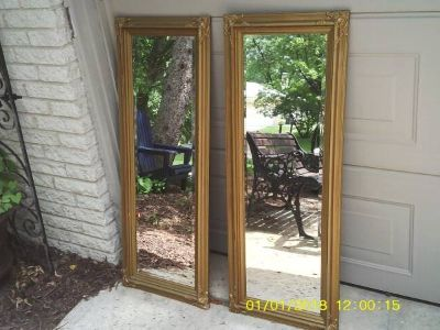 MIRRORS SET BOTH HAVE ORNATE WOOD MATERIAL FRAMES