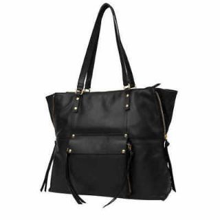 "Kooba Genuine Leather Tote, Black, 11"" Strap Hand Bag Zipper Purse"