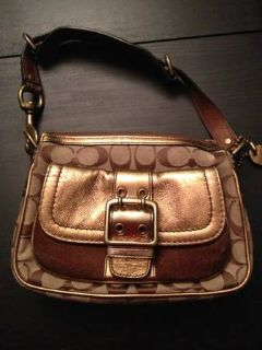 Signature Coach Purse, gold and brown