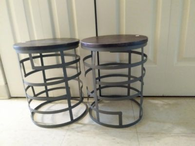 Two small metal and wood side tables