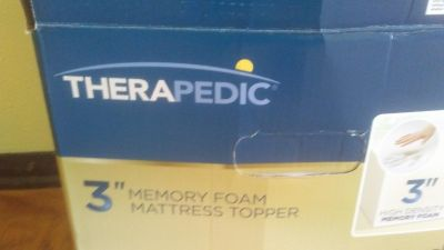 """Therapedic 3"""" Memory Foam Mattress Topper Like New! Size for a Twin or XLT Still have box"""