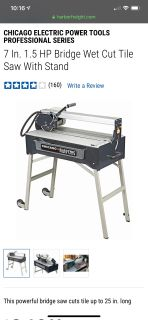 Chicago Electric 7 In. 1.5 HP Bridge Wet Cut Tile Saw With Stand