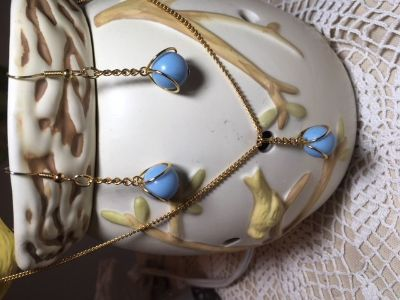 Jewelry Set Made from Vintage Pieces Light Blue and Gold Necklace with Matching Earrings
