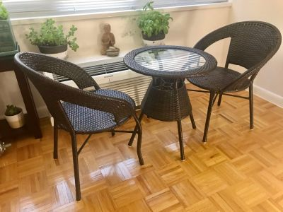 Outdoor / Patio Chairs & Table set - Dark brown