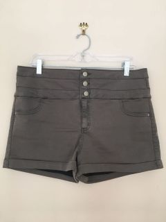 Khaki High-Waisted Shorts