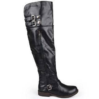 Journee Collection Black Over the Knee Buckle Boots Womens Size 6