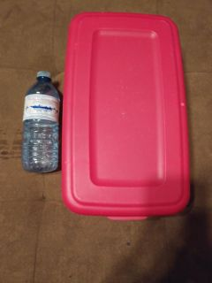 $2$ Small Tote Container Pink & Clear