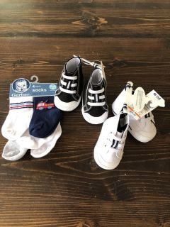 Size 1 shoes and 0-6 months boys socks. New with tags.