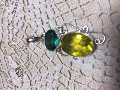 Pendant Large Yellow Quartz and Teal Colored Topaz Stone Faceted Silver Setting Sterling Silver ...