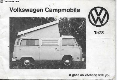 1978 Westfalia Camper Westy Owner's Manual