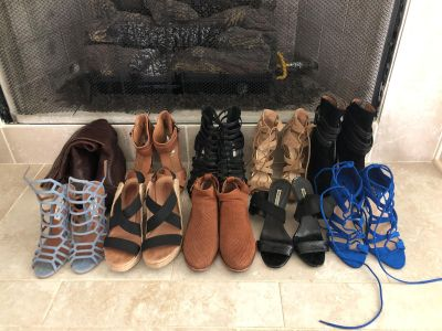 Variety 10 pairs of shoes, booties, boots, wedge