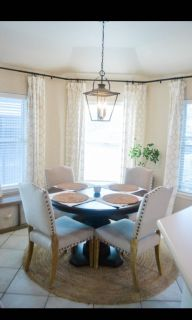 4 linen nailhead dining chairs