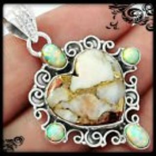 New - Heart Copper White Turquoise and White Fire Opal 925 Sterling Silver Pendant (Includes a c...
