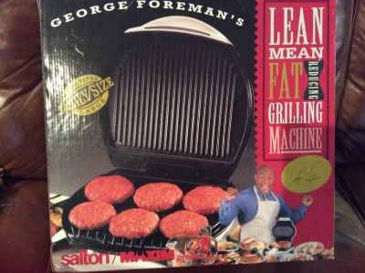 George Foreman's Family Size Lean Mean Grilling Machine --New