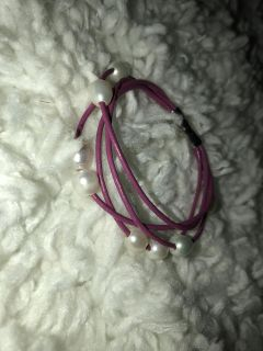 Pink Layered Pearl Magnetic Bracelet