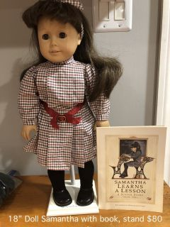 "18"" American Girl Samantha Doll with stand"