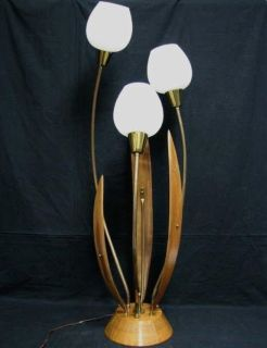Danish Mid-Century Teak/Brass Tulip Floor Lamp