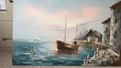 Canvas Painting of boat in the bay