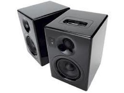 iStorm 3.2 Black Powered Stereo Bookshelf SPEAKERS ~ Apple Ipod TV & Computer etc