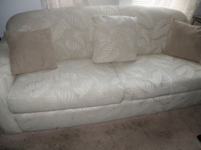 Custom Fabric Queen Sofa Bed Very Clean and Comfortable Beige Jacqurd Cover Foam Mattress
