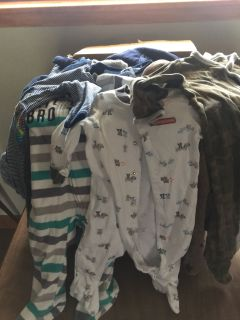 Large box of boy clothes 3-6 months
