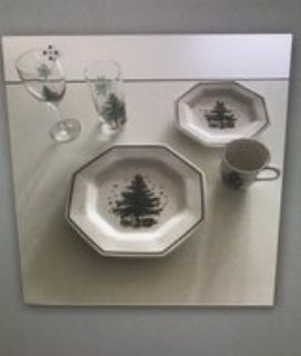 Nikko Christmas Dishes and 2 tired plate rack