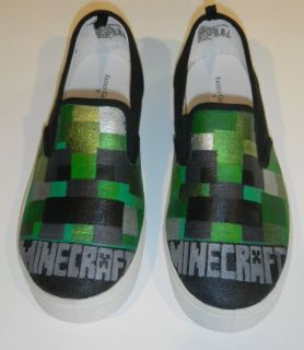 Boys / Girls Size 3 Hand Painted MINECRAFT Creeper Shoes