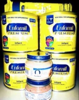 Enfamil baby formula 8 ounces for four cans two cans of food and four free packets gerber