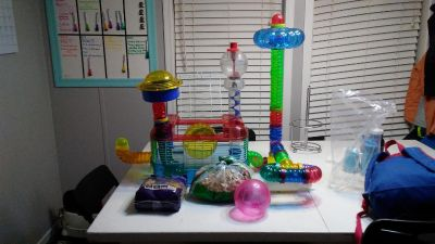Hamster/Gerbil cage with tons of accessories, new unopened bag of food, and partial bag of pine bedding