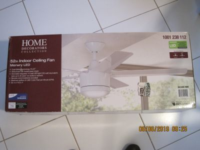 """Home Decorators Collection Merwry 52"""" Fan with Integrated Light LED Light Kit with Remote Control White"""