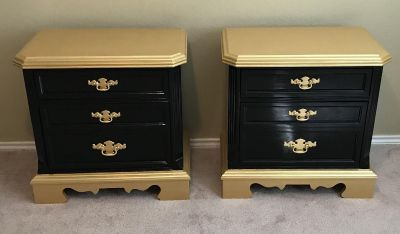 Gorgeous black and gold hand painted end tables