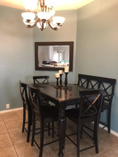 dining table set w/ 4 chairs and 1 bench