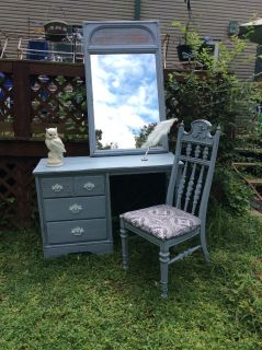 Antique Shabby Chic Charcoal Gray Vanity Desk Mirror and Chair