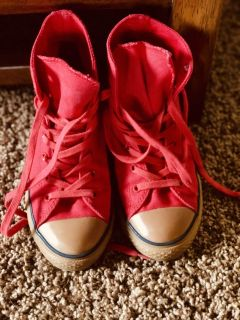 Red CONVERSE, vintage style soles.