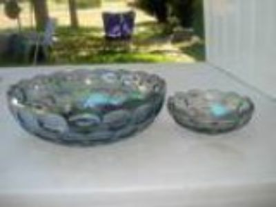 Carnival Smokey Gray Thumbprint Bowls (Elm Mott)