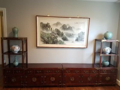 Korean Asian 4-Piece Furniture With Framed Silk Painting and 6 Pottery