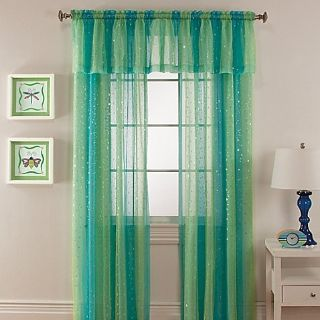 """Aqua and Seafoam Green Curtains and Valance with Silver Sparkles 63"""""""
