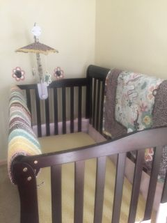 Crib, mattress, bedding, mesh bumper, mobile, and more!