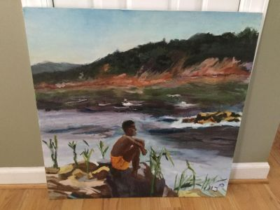 Hand painted Canvas of a boy by the river