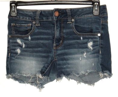 American Eagle Midi SUPER Stretch Cutoff Distressed Denim Jean Shorts Womens 6