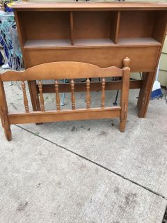 Old vintage twin size headboard with shelves footboard and rails